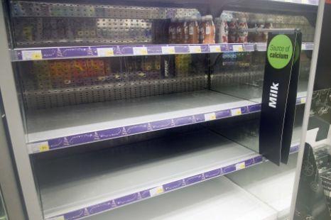 Empty milk shelves at a shop in Sevenoaks, Kent (Enterprise)